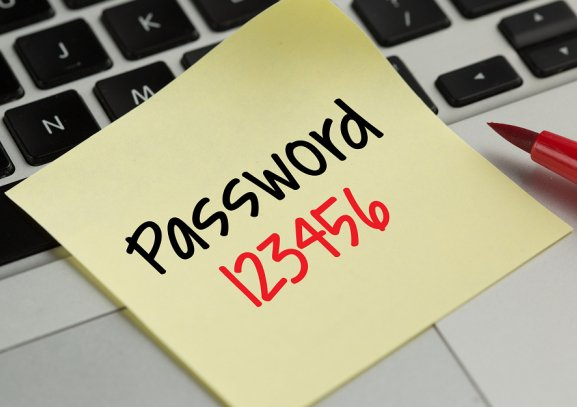 password 123456 on sticky note