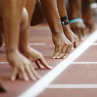 sprinters at starting block