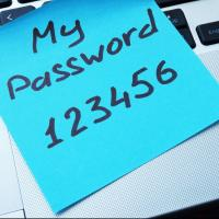 password written on sticky note