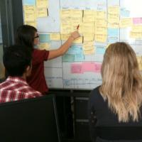 Team having an agile standup meeting