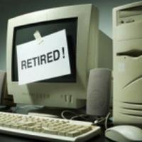 "Computer with a ""Retired!"" sign"