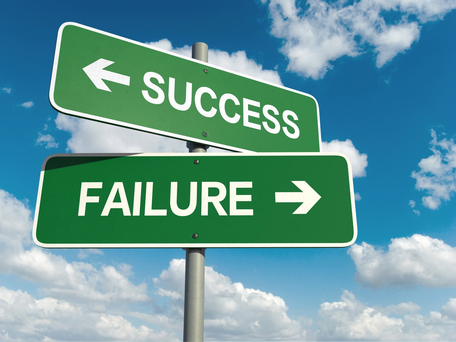 Signs pointing toward success one way and failure the other