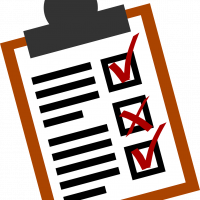 Clipboard with customer feedback indicating good and bad experiences