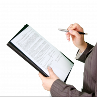 Woman examining a contract for new software