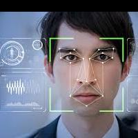 A man's face in facial recognition software