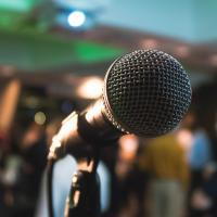 Microphone on a stage at a conference