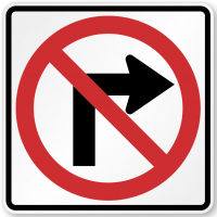 """No right turn"" sign"