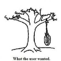 Cartoon showing a customer's request for a tree swing