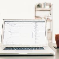 API code on a laptop