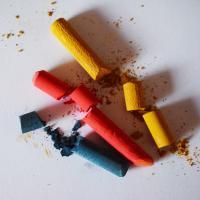 Broken pastel sticks