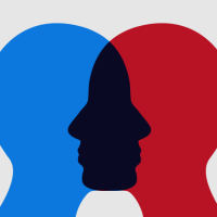 Graphic of two people's minds overlapping, showing empathy