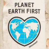 "Greenpeace sticker saying ""Planet Earth first"""