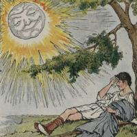 "Illustration from Aesop's fable ""The North Wind and the Sun"""