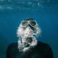 Man scuba diving underwater