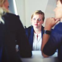 Woman sitting in a job interview