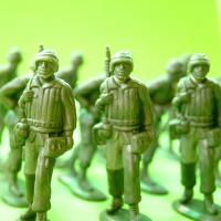 Green plastic army soldier figures