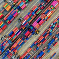 Aerial shot of a container lot