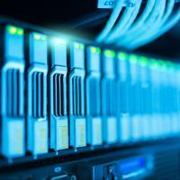 Close-up of database servers