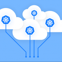 Kubernetes logos in the cloud