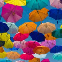 Collection of colorful open umbrellas creating coverage