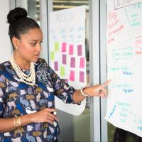 Agile team member pointing at user stories written on sticky notes