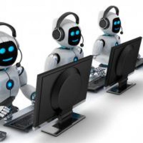 robots working at computers