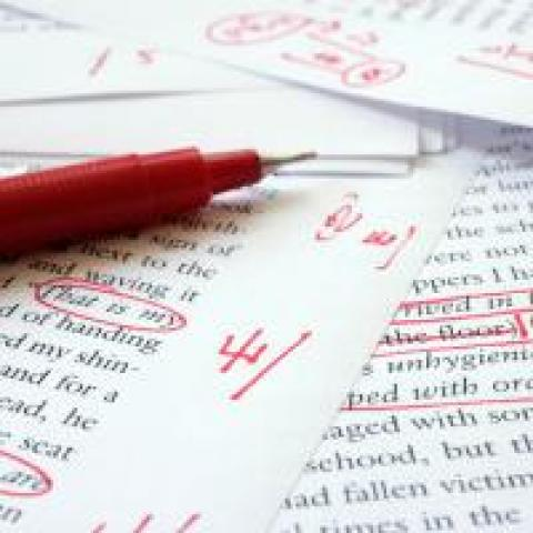 Editor's proofreading marks on a page