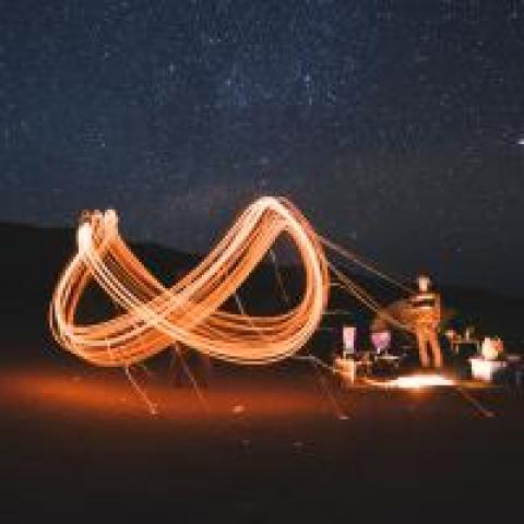 Infinity sign made with a sparkler