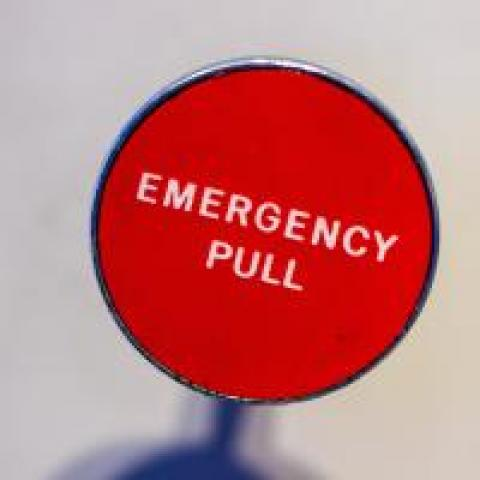 """Red """"Emergency pull"""" lever"""