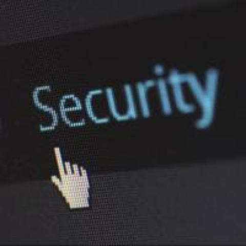 """Cursor about to click the word """"Security"""""""