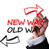 Arrows pointing to old way and new way