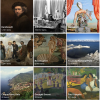 Thumbnail images of some of Once Upon a Try's popular content, including cities, historical figures, and art movements
