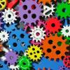 Colorful gears automating processes